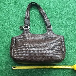 Donald J Pliner brown braided leather purse bag